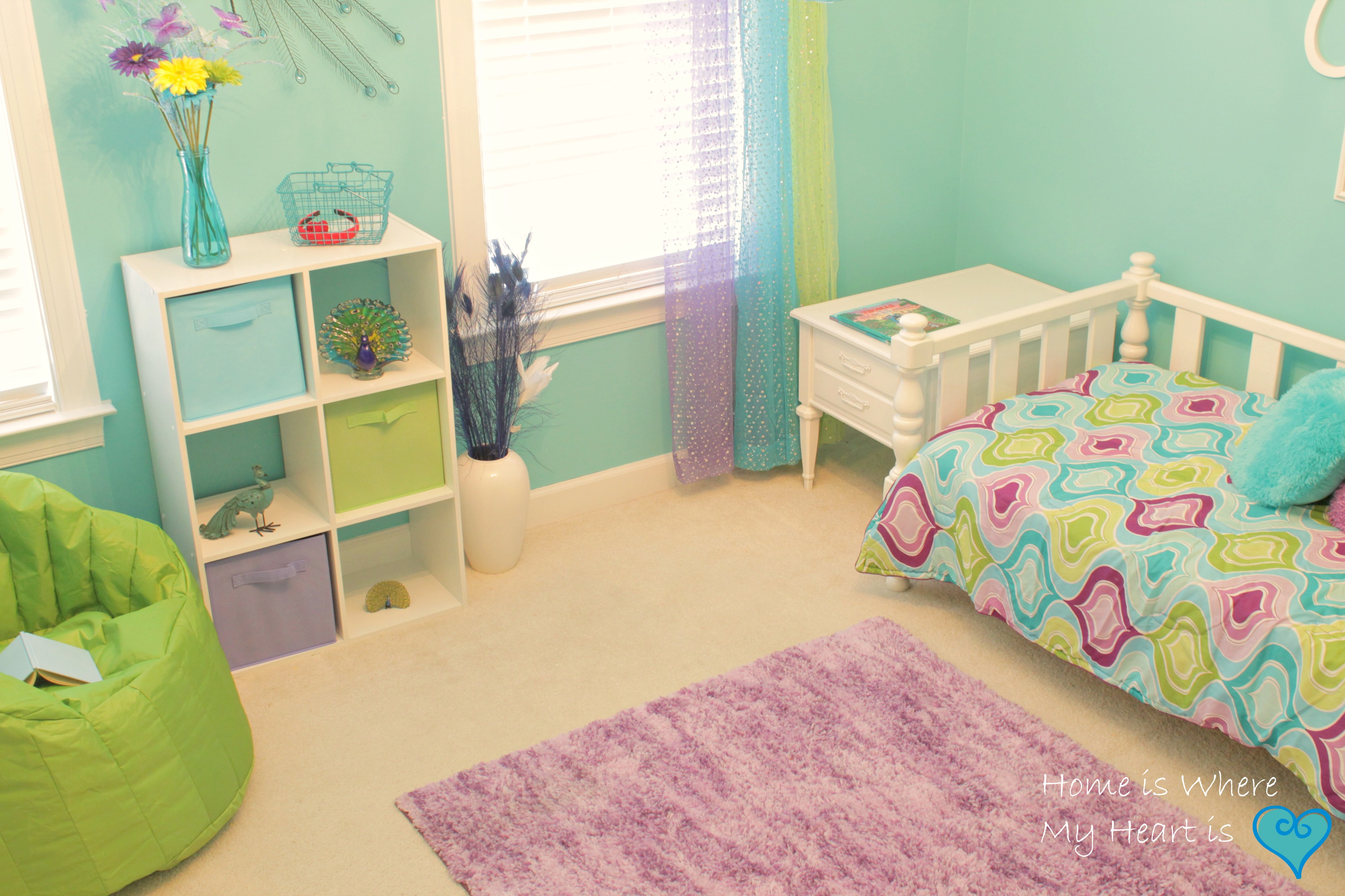 Hiding ugly electrical cords and burning my fingertips for Pink and green kids room
