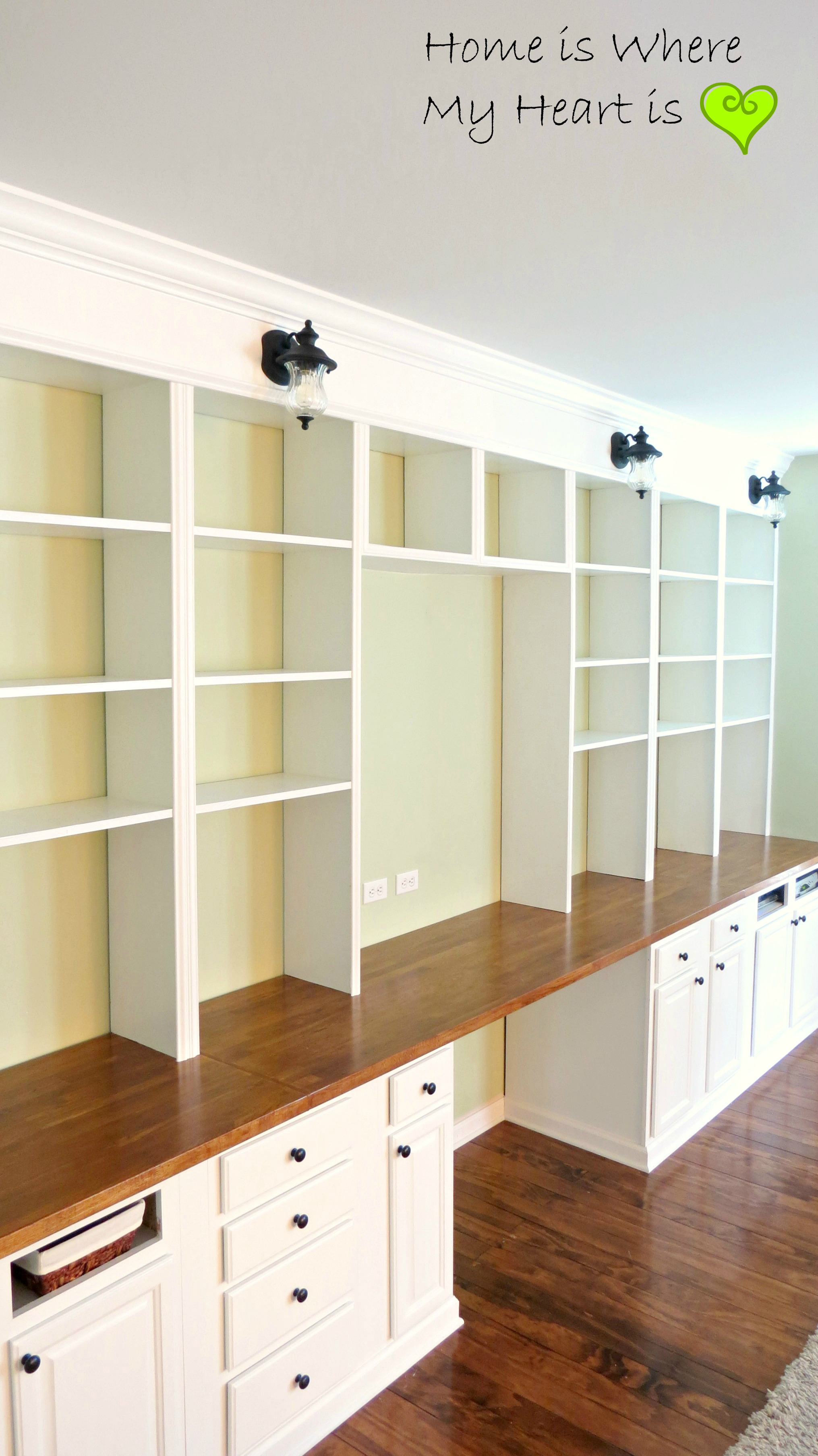 The completion of the construction of the bookcases for Built in nook shelves